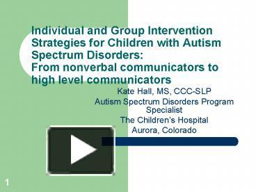 intervention strategies for autism spectrum disorder