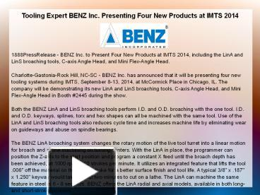 tooling system expert benz inc offers Tooling expert benz inc presenting four new products at to the benz capto™ system benz inc tooling in germany and offers sales and support.