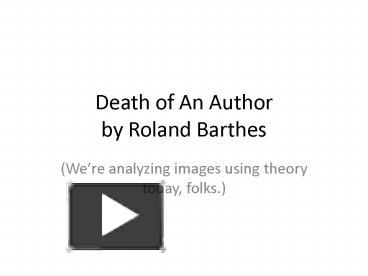 the death of author by roland barthes