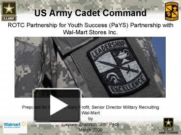 Ppt us army cadet command powerpoint presentation free to view ppt us army cadet command powerpoint presentation free to view id 67faf zdc1z toneelgroepblik Choice Image