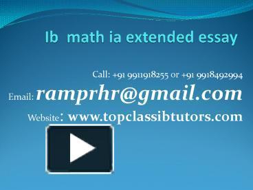 extended essay maths