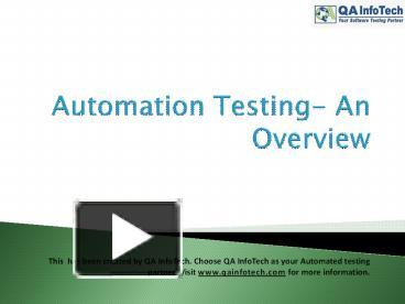 PPT – Automation testing PowerPoint presentation   free to download