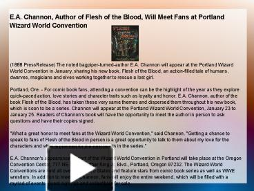 e a channon author of flesh of