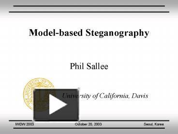 PPT – Modelbased Steganography PowerPoint presentation