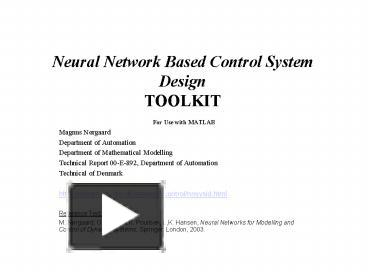 PPT – Neural Network Based Control System Design TOOLKIT PowerPoint