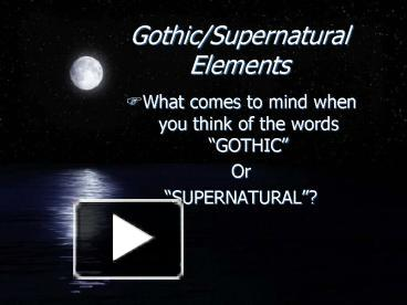 what are supernatural elements