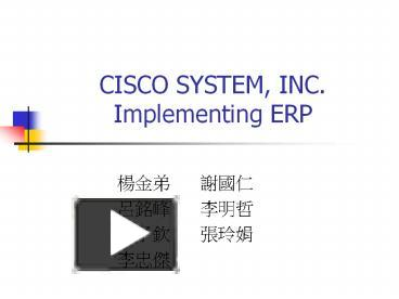 cisco systems inc implementing erp