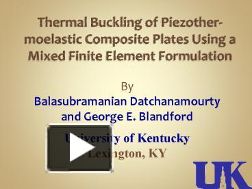 PPT – Thermal Buckling of Piezother-moelastic Composite