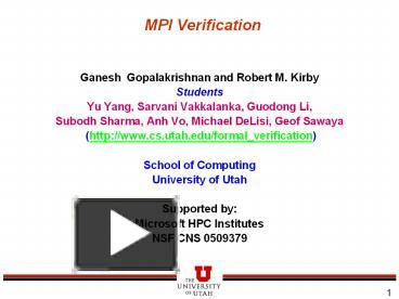 PPT – MPI Verification PowerPoint presentation | free to
