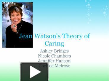jean watson theory ppt