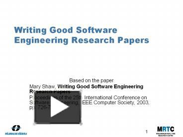 write research paper software engineering