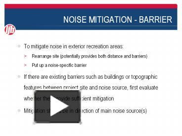 PPT – NOISE MITIGATION - BARRIER PowerPoint presentation