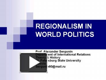 regionalism in world politics