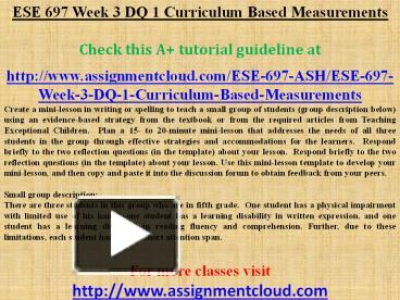 ese 315 week 3 dq 1 Ese 315 survey of exceptional students entire course ese 315 week 1 dq 1 inclusiondoc.