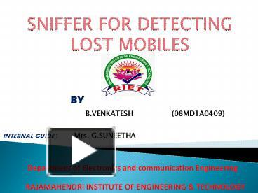 research paper on sniffer for detecting lost mobiles