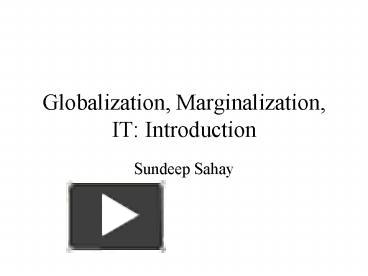 globalisation and marginalisation