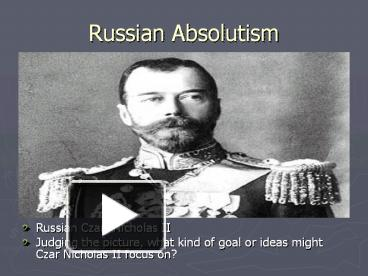 the problems of czarist russia Ukraine: current issues and us policy ukraine's problems have not been solely political and economic following the collapse of czarist russia in 1917.