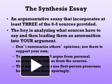 synthesis vs argumentative essay What are some similarities and differences between writing a synthesis essay and an argument essay.