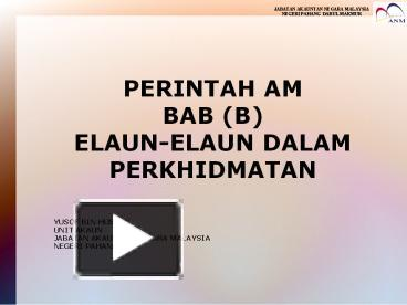 Ppt Perintah Am Powerpoint Presentation Free To View Id 796160 Mte3o