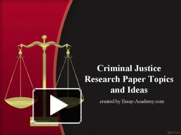 thesis papers criminal justice Free criminal justice papers, essays, and research papers.