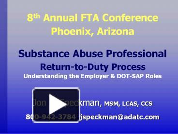PPT – Substance Abuse Professional Return-to-Duty Process