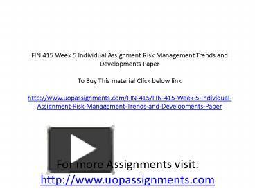 fin 415 week 5 presentation