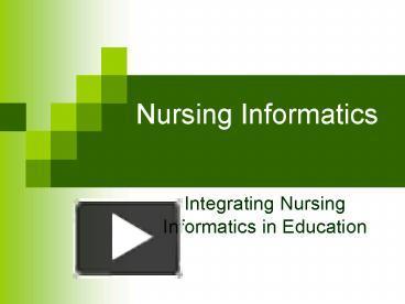 Ppt Nursing Informatics Powerpoint Presentation Free To