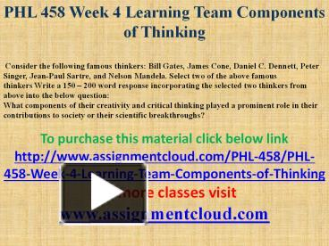 phl 458 week 4 individual famous