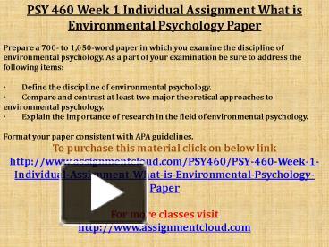 psy 460 week 1 environmental psychology