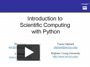 PPT – Introduction to Scientific Computing with Python PowerPoint