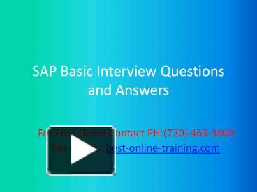 PPT – Sap Basic Interview Question and Answers (1) PowerPoint