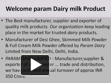 PPT – skim milk powder PowerPoint presentation | free to