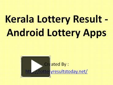 PPT – Today's Kerala lottery result PowerPoint presentation