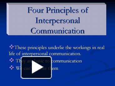 principles of interpersonal communication