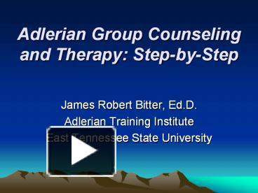 adlerian theory in group counseling