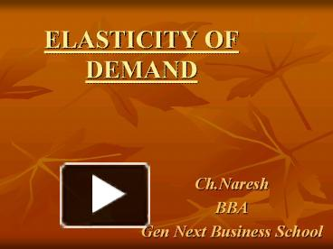 Ppt Elasticity Of Demand Powerpoint Presentation Free To