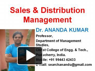 ppt sales and distribution management powerpoint presentation