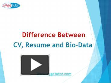 ppt difference between cv resume bio data powerpoint