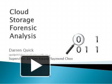 PPT – Cloud Storage Forensic Analysis PowerPoint