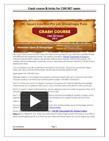PPT – Crash Course & Tricks For CSIR NET Exam PowerPoint