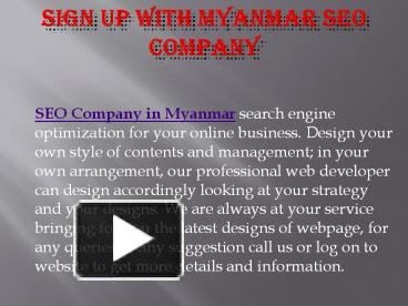Sign up with myanmar seo Company