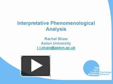 Phenomenological analysis