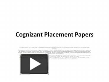 Essay topics for cognizant placement process executive