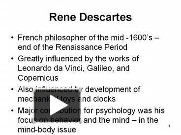 the life and influence of rene descartes