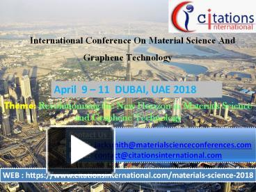 PPT – Materials Science 2018 PowerPoint presentation | free