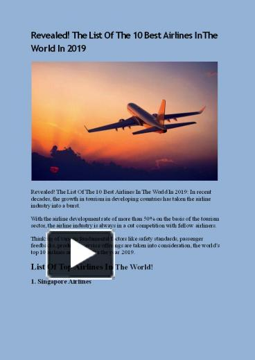 PPT – Revealed! The List Of The 10 Best Airlines In The