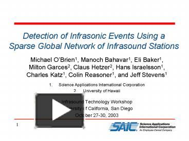 PPT – Detection of Infrasonic Events Using a Sparse Global