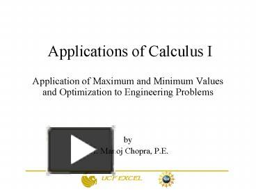 PPT – Applications of Calculus I PowerPoint presentation