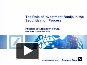 PPT – The Role of Investment Banks in the Securitization