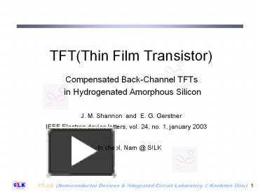 Ppt tftthin film transistor powerpoint presentation free to ppt tftthin film transistor powerpoint presentation free to view id 933dc y2rmn publicscrutiny Image collections